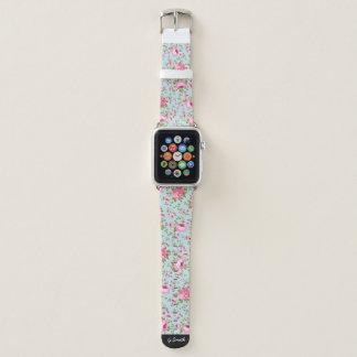 Bracelet Apple Watch Motif floral classique sur le fond bleu