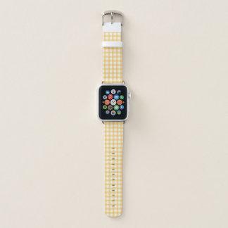 Bracelet Apple Watch Motif jaune en pastel de contrôle de guingan