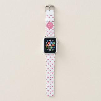 Bracelet Apple Watch Motif minuscule blanc rose élégant de coeur de