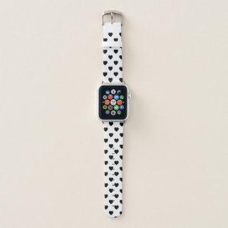 Bracelet Apple Watch Motif noir et blanc de coeurs de point de polka