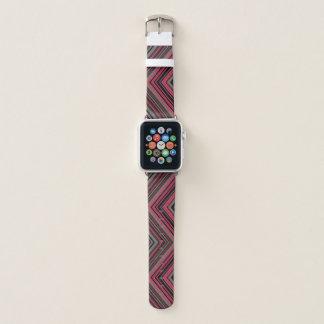Bracelet Apple Watch Motif noir et gris rose de diamant