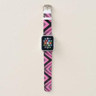 Bracelet Apple Watch Motif noir et gris rose de diamant de pixel
