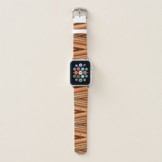 Bracelet Apple Watch Motif orange et noir de diamant de pixel