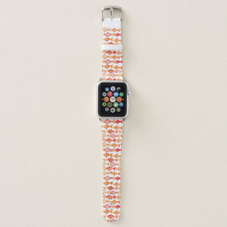 Bracelet Apple Watch Motif orange lumineux de poissons d'aquarelle
