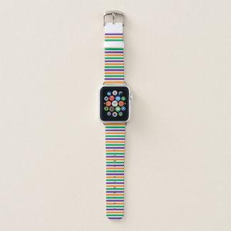 Bracelet Apple Watch Motif rayé vert orange pourpre coloré