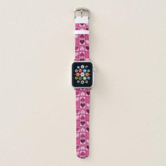 Bracelet Apple Watch Motif rose doux de coeurs