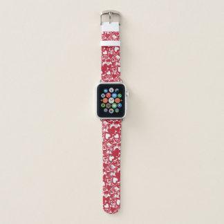 Bracelet Apple Watch Motif rouge tiré par la main de coeurs