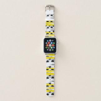 Bracelet Apple Watch Motif tribal de rayures jaunes blanches noires