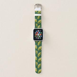 Bracelet Apple Watch Motif vert abstrait griffé de feuille