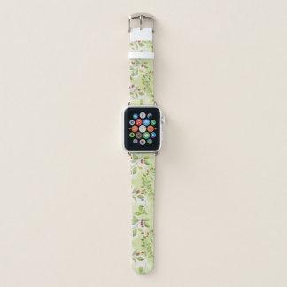 Bracelet Apple Watch Motif vert et rouge de baies