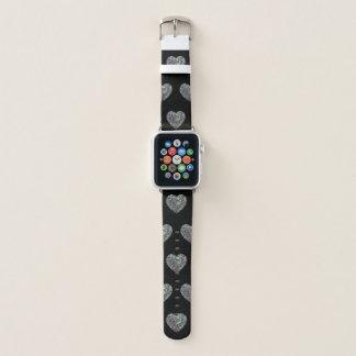 Bracelet Apple Watch Noir argenté coloré scintillant de motif de coeur
