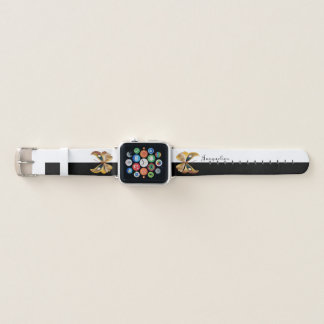 Bracelet Apple Watch Noir/blanc de papillons colorés par bijou décoré