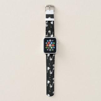 Bracelet Apple Watch Noir blanc de roche de guitares une bande de