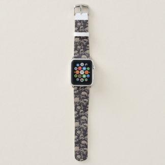 Bracelet Apple Watch Noir et bande de montre d'Apple de crâne de Brown