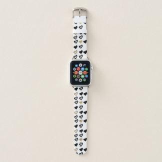 Bracelet Apple Watch Noir et bande de montre d'Apple de motif de coeur