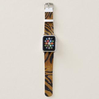 Bracelet Apple Watch Noir et conception de motif de tigre de Brown