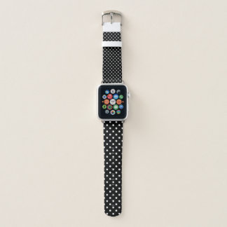 Bracelet Apple Watch Noir minuscule avec le à petits pois blanc