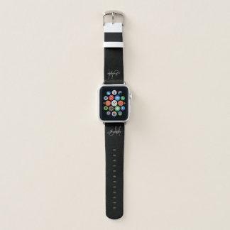 Bracelet Apple Watch Nom gris élégant personnalisé de monogramme de