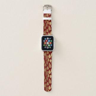 Bracelet Apple Watch Or et motif rouge de feuille
