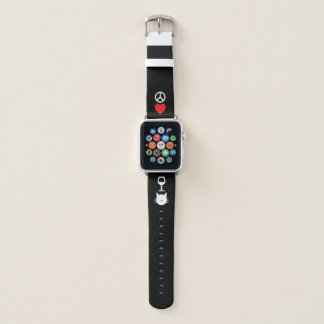 Bracelet Apple Watch Paix, amour, vin et chats