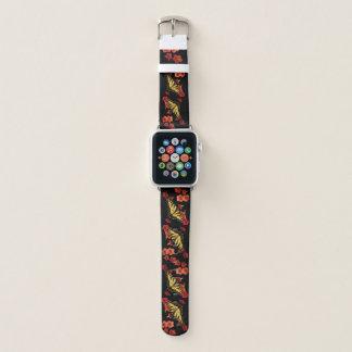 Bracelet Apple Watch Papillon jaune de machaon de tigre sur les fleurs