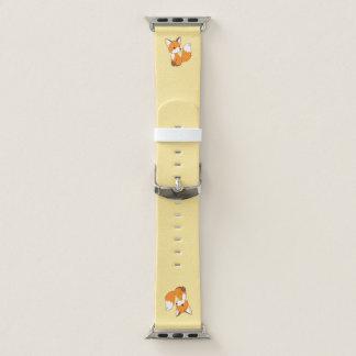 Bracelet Apple Watch Petit Fox mignon sur le jaune