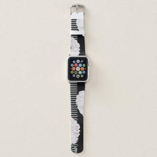Bracelet Apple Watch Piano noir blanc de pivoine