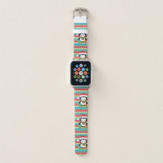 Bracelet Apple Watch Pingouin de cadeau sur l'arrière - plan rayé de