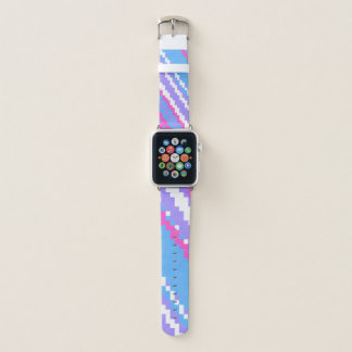 Bracelet Apple Watch pixels bleus et blancs pourpres roses