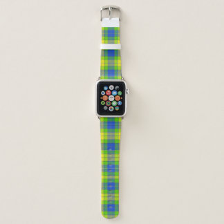 Bracelet Apple Watch Plaid contemporain moderne de vert et de bleu de