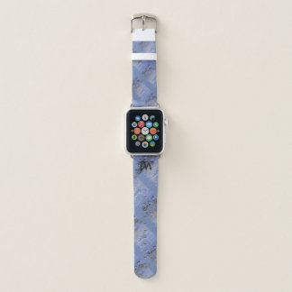 Bracelet Apple Watch Plaid de gris bleu personnalisé