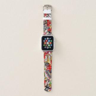 Bracelet Apple Watch Plaisir de joueurs - collage d'icônes de Las Vegas