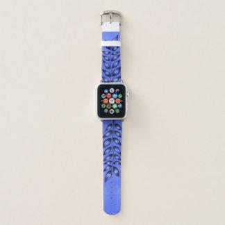 Bracelet Apple Watch Plante décoratif bleu élégant avec le feuille