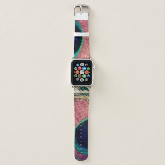 Bracelet Apple Watch Plume rose de paon chic