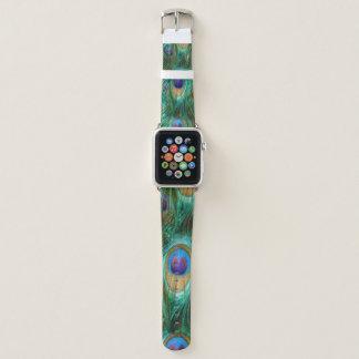 Bracelet Apple Watch Plumes de paon de vert bleu