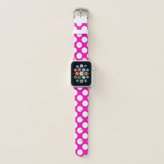 Bracelet Apple Watch Point de polka rose modelé