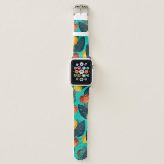 Bracelet Apple Watch pommes et citrons turquoises
