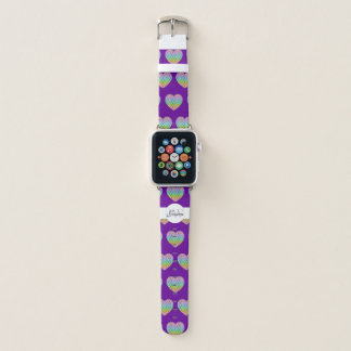 Bracelet Apple Watch Pourpre de monogramme de coeur de motif
