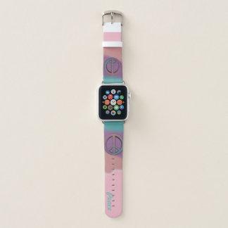 Bracelet Apple Watch Pourpre et corail de turquoise de signe de paix