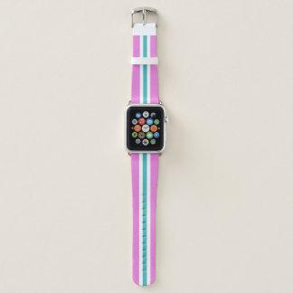 Bracelet Apple Watch Rayure de emballage blanche et rose de bleus