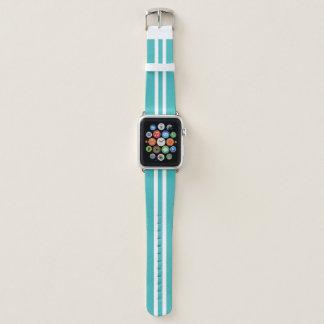 Bracelet Apple Watch Rayure de emballage de bleu layette et blanche