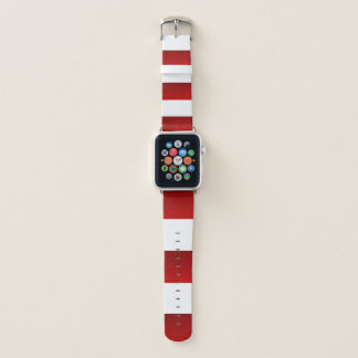 Bracelet Apple Watch Rayures blanches rouges