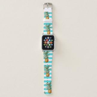 Bracelet Apple Watch rayures de sarcelle d'hiver d'ananas