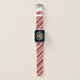 Bracelet Apple Watch Rayures diagonales rouges et blanches mélangées de