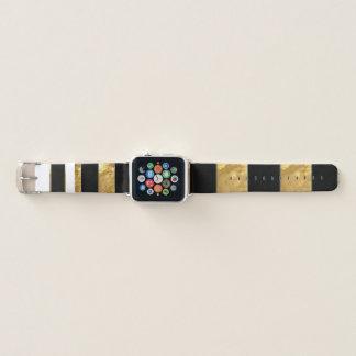 Bracelet Apple Watch Rayures noires d'or