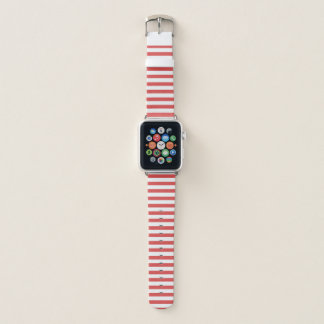 Bracelet Apple Watch Rayures rouges et blanches
