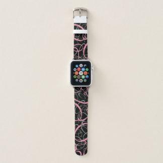 Bracelet Apple Watch rose et gris sur le motif géométrique noir de mod