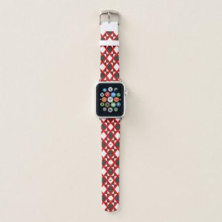 Bracelet Apple Watch Rouge à motifs de losanges intense