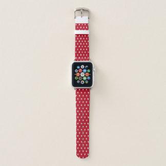Bracelet Apple Watch Rouge lumineux avec le motif blanc de coeurs
