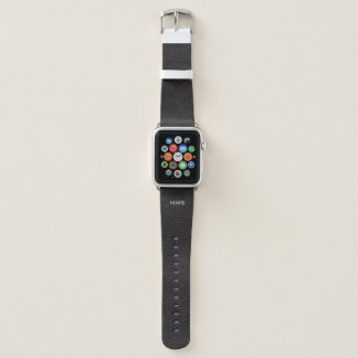 Bracelet Apple Watch Simili cuir noir rustique décoré d'un monogramme